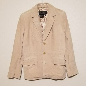 NWOT Terry Lewis Beige Leather Jacket Size S